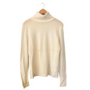 Ivory Off White Cashmere Turtleneck Sweater Medium